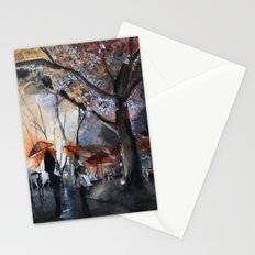 Autumn rain - watercolor Stationery Cards