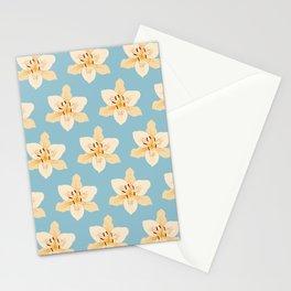 Day Lily Illustrative Pattern on Light Blue Stationery Cards