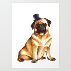 Fancy Top Hat Pug Art Print