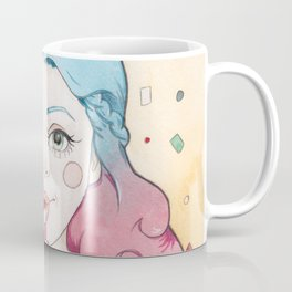 Blue and Purple Haired Party Girl Iris with a Popper, Party Hat & Confetti Coffee Mug