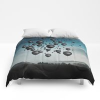 Comforters featuring In Limbo - black balloons by Dirk Wuestenhagen Imagery