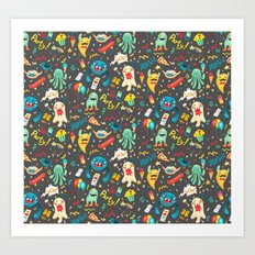 Party monsters (Grey) Art Print