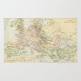 Old Map of Europe under the Empire of Charlemagne Rug
