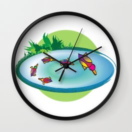 Lucky Ducks Wall Clock