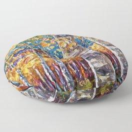 Autumn Aspen Colors Palette Knife Floor Pillow