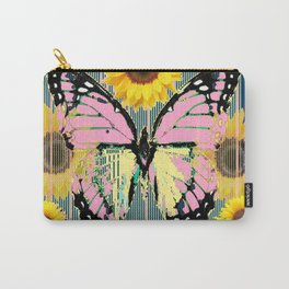 ABSTRACT PINK BUTTERFLY TEAL GARDEN SUNFLOWER Carry-All Pouch