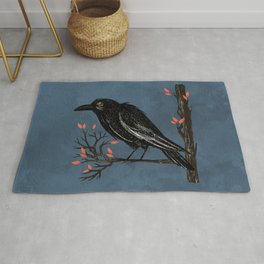 Raven On A Cold And Rainy Day Rug