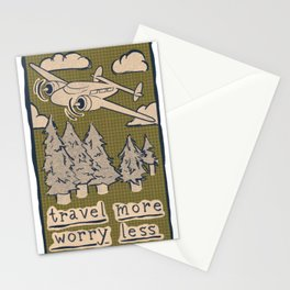 Travel More Worry Less // Airplane Wanderlust Mountains Stationery Cards