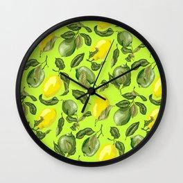 Citrus Lime and Lemon Pattern Wall Clock