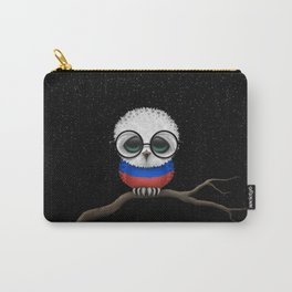 Baby Owl with Glasses and Russian Flag Carry-All Pouch