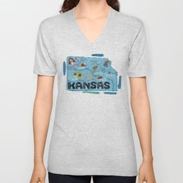 KANSAS map Unisex V-Neck
