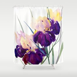 Deep Purple Flowers, Irises Shower Curtain