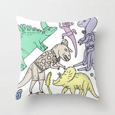 dinosaur friends Throw Pillow