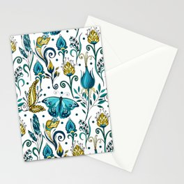 Floral pattern with butterfly Stationery Cards