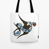 swallow Tote Bags featuring Swallow by Eve Schultz / Butterbean Design Studio