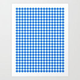 White and Brandeis Blue Diamonds Art Print