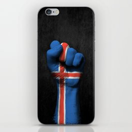 Icelandic Flag on a Raised Clenched Fist iPhone Skin