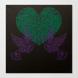 Doves in Love (Purple and Green) Canvas Print