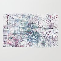 houston Area & Throw Rugs featuring Houston map by MapMapMaps.Watercolors