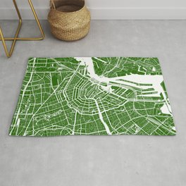 Green City Map of Amsterdam, Netherlands Rug