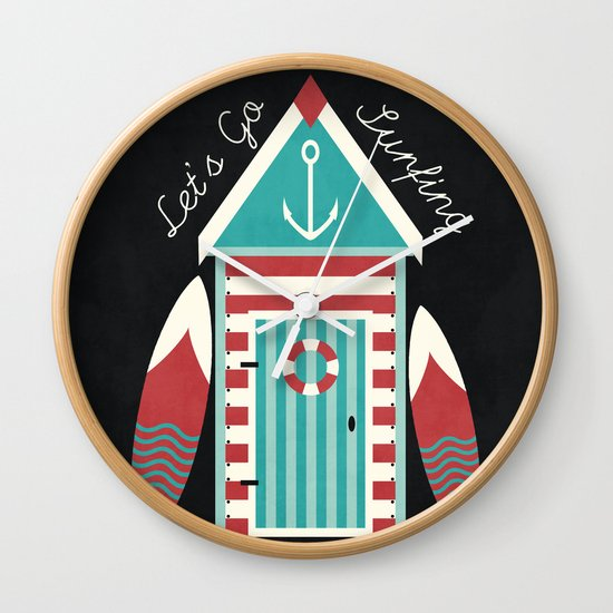 Let's Go Surfing. Wall Clock