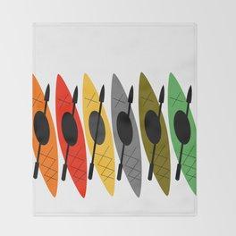 Kayaks in Earth Tone Colors Throw Blanket