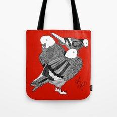 Red Pigeons Get Fat Tote Bag