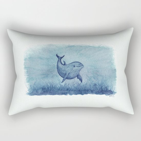 Notches Blue ~ Dolphin Watercolor, (c) 2013 Rectangular Pillow