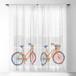 Old bicycle Sheer Curtain
