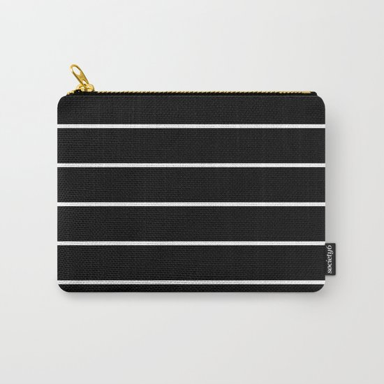 Black White Pinstripes Carry-All Pouch