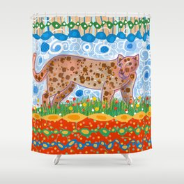 Leopard in the grass Shower Curtain