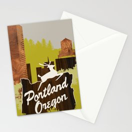 White Stag Sign, Portland Oregon Stationery Cards