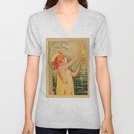 Classic French art nouveau Absinthe Robette Unisex V-Neck