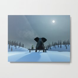 Dog and Elephant Friends Metal Print