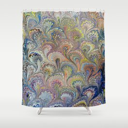Peacock Water Marbling Shower Curtain