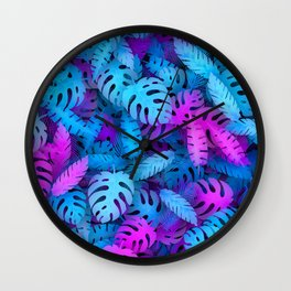 Blue pink tropical leaves Wall Clock