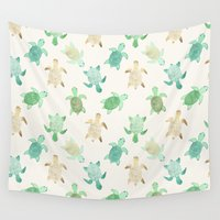 turtles Wall Tapestries featuring Gilded Jade & Mint Turtles by Tangerine-Tane