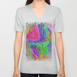 Abstract colorful pink purple hand painted scribble pattern Unisex V-Neck
