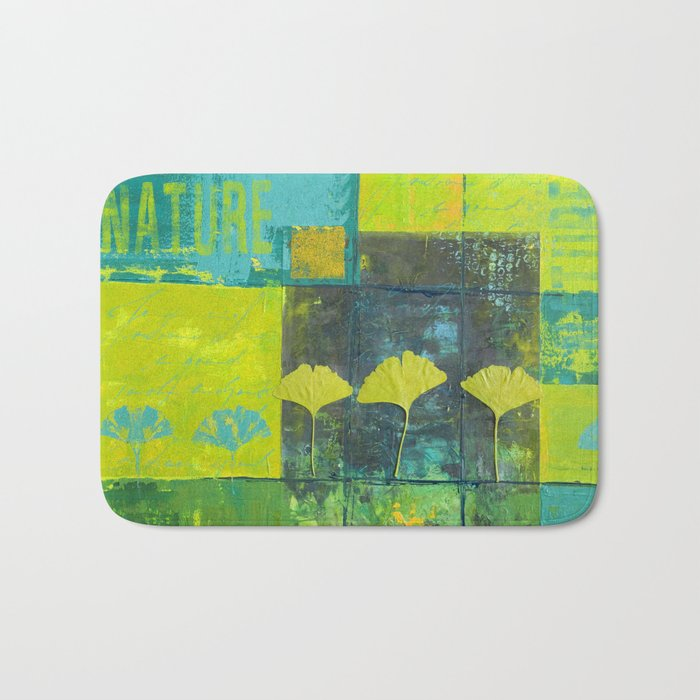 Green nature greenery gingko leaf collge Bath Mat