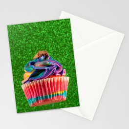 Cupcake Love | Rainbow Peanut Butter Cup on Green Sparkle Stationery Cards