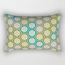 Hexagonal Dreams - Green, Grey, Turquoise Rectangular Pillow