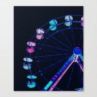 ferris wheel Canvas Prints featuring Ferris Wheel Pink Blue Aqua by WhimsyRomance&Fun