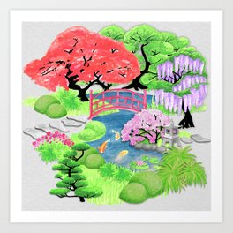 Japanese Garden_Watercolor & Ink Art Print