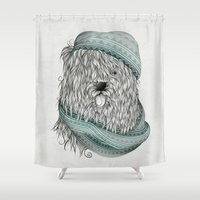dog Shower Curtains featuring Shaggy Dog  by LouJah