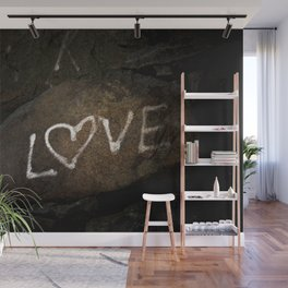 One Love Brown Rock with White Graffiti Photograph Wall Mural