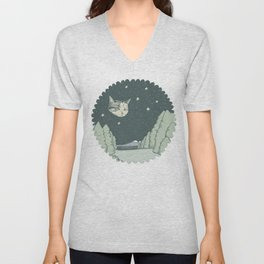 Cat Moon Unisex V-Neck