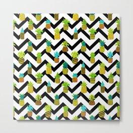 Pineapples Pattern Cute 124 Metal Print