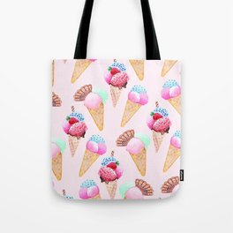Ice cream Pattern summer cool watercolor Tote Bag