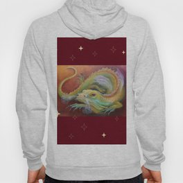 Dragon and Stars Colorful fantasy Illustration Fancy Lizard painting on the brown background Hoody