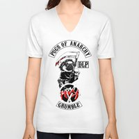 sons of anarchy V-neck T-shirts featuring Pugs of Anarchy by Dark Lord Pug
